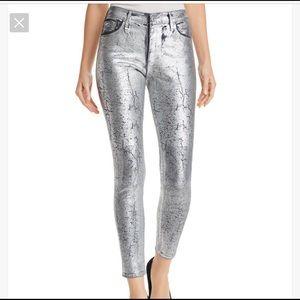 AG Silver Metallic Coated Jeans